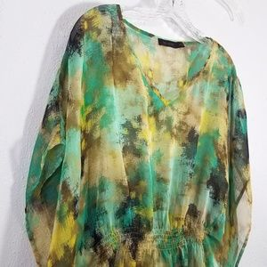 The Limited Tops - The Limited Semi Sheer Cover Up Cape Blouse